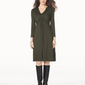 SOMA v neck twist front dress long sleeve I13